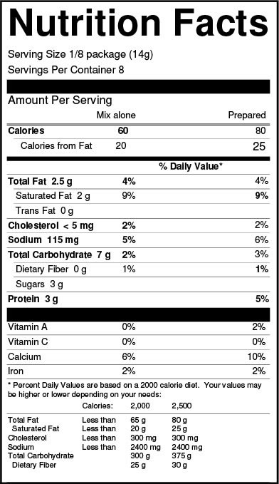Chocolate Mousse Mix Nutrition Facts